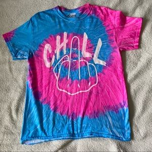 Spencer's Neon pink and Blue Tie Dye Chill T-shirt